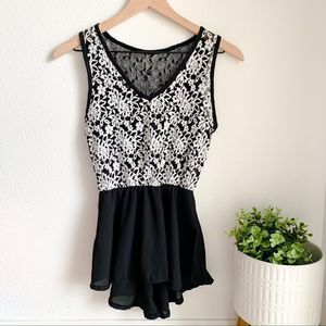 Black and White lace v neck dressy top